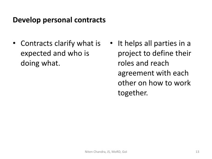 Develop personal contracts