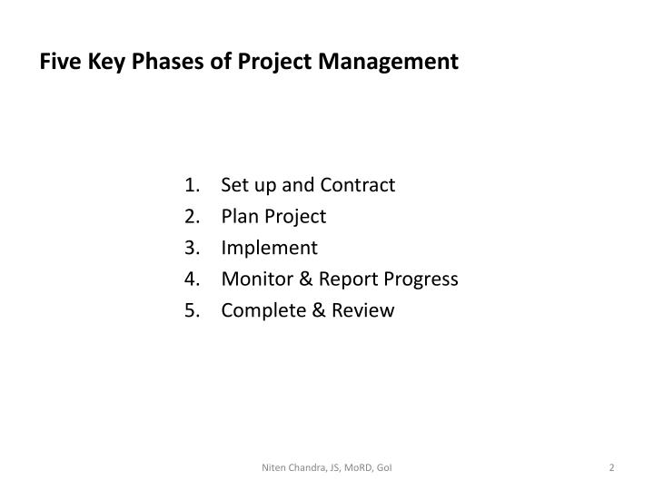 Five key phases of project management