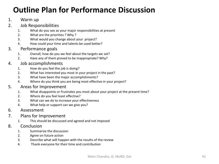 Outline Plan for Performance Discussion