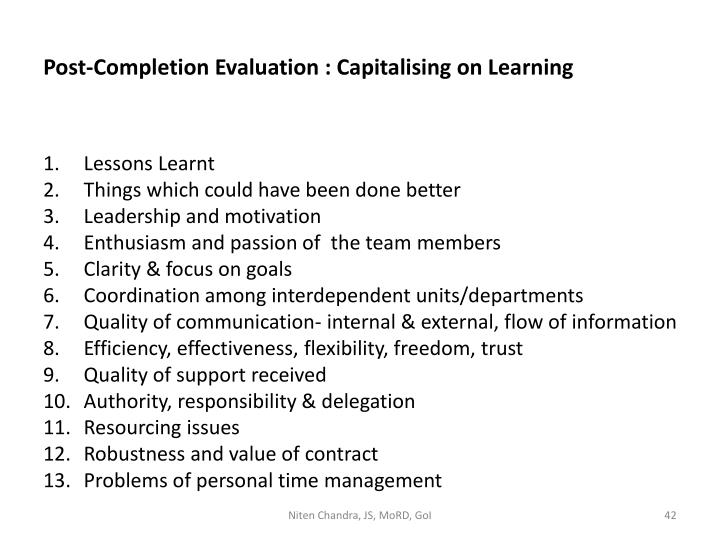 Post-Completion Evaluation : Capitalising on Learning