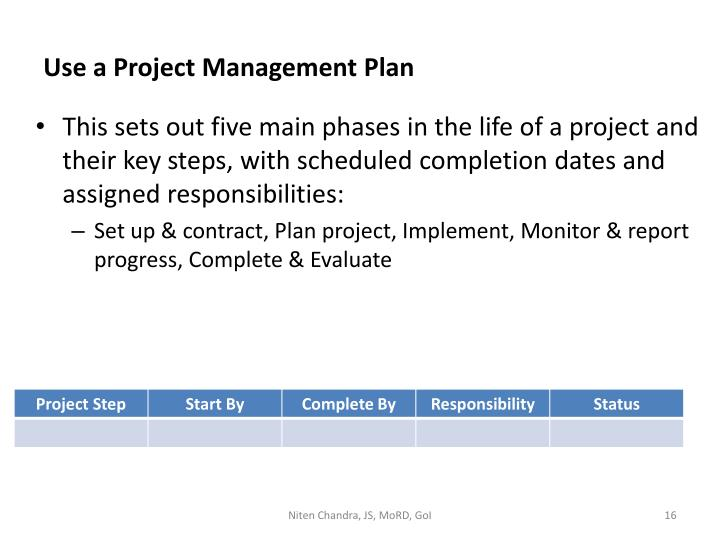 Use a Project Management Plan