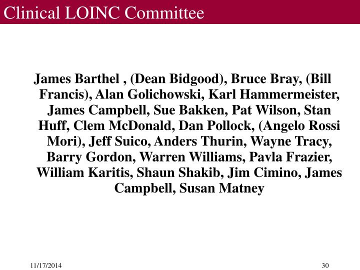 Clinical LOINC Committee