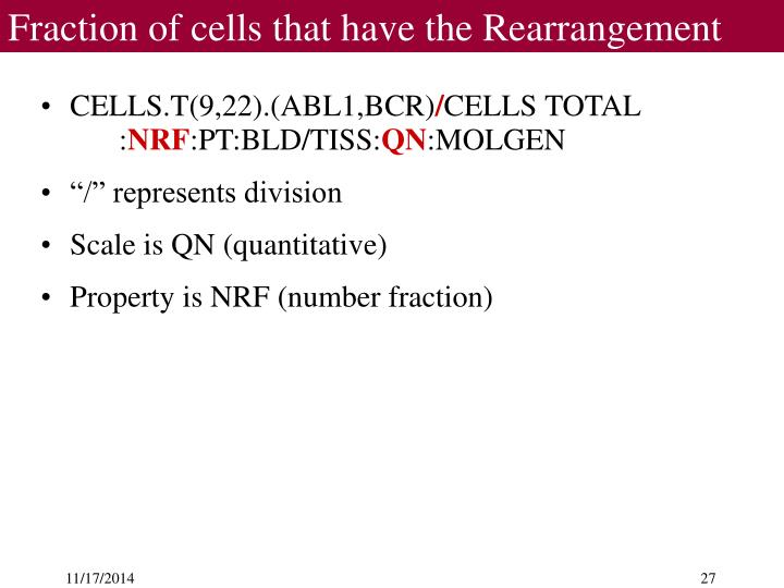 Fraction of cells that have the Rearrangement