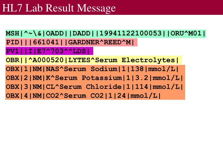 HL7 Lab Result Message