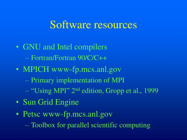 Software resources