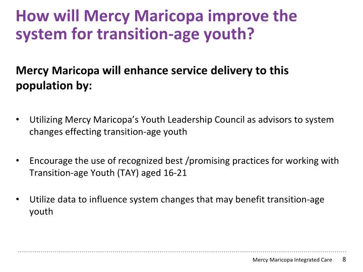 How will Mercy Maricopa improve the system for transition-age youth?