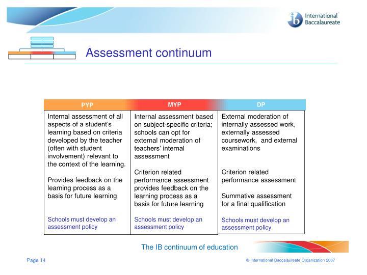 Assessment continuum
