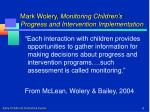 mark wolery monitoring children s progress and intervention implementation