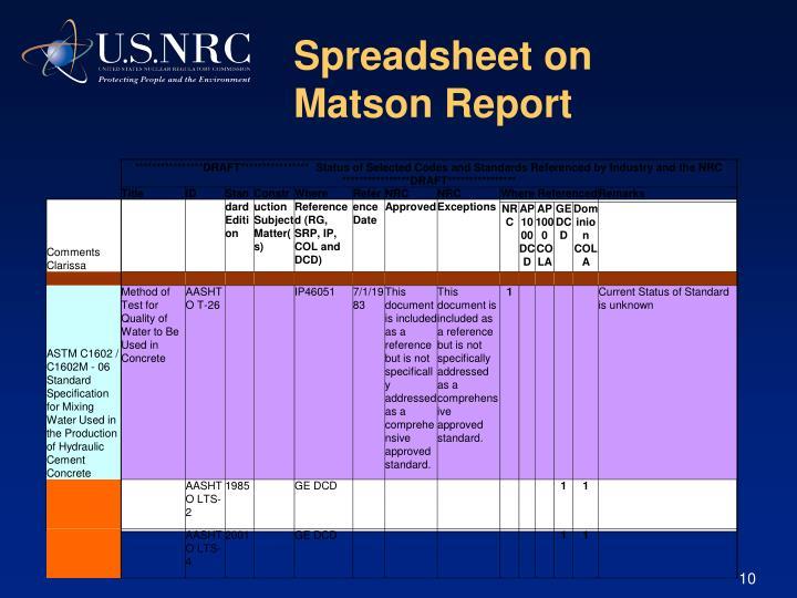 Spreadsheet on Matson Report