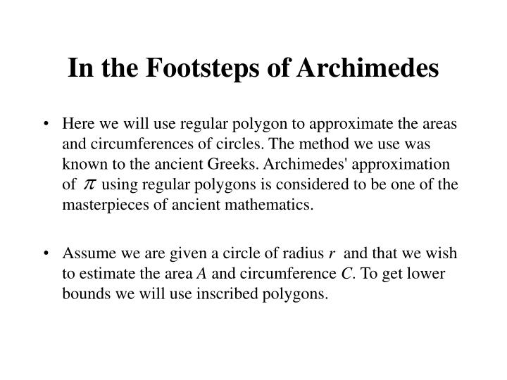 In the Footsteps of Archimedes