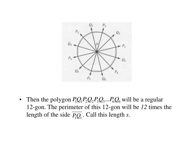Then the polygon                                will be a regular    12-gon. The perimeter of this 12-gon will be
