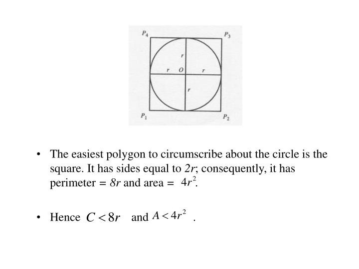 The easiest polygon to circumscribe about the circle is the square. It has sides equal to