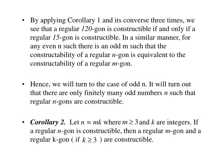 By applying Corollary 1 and its converse three times, we see that a regular