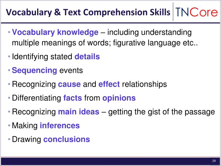 Vocabulary & Text Comprehension Skills