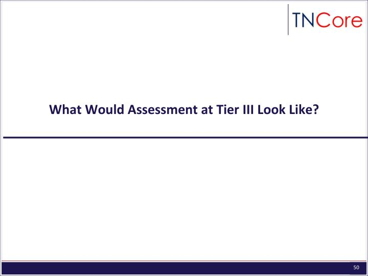 What Would Assessment at Tier III Look Like?