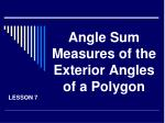 angle sum measures of the exterior angles of a polygon