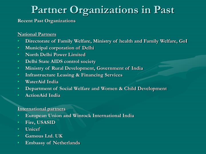 Partner Organizations in Past