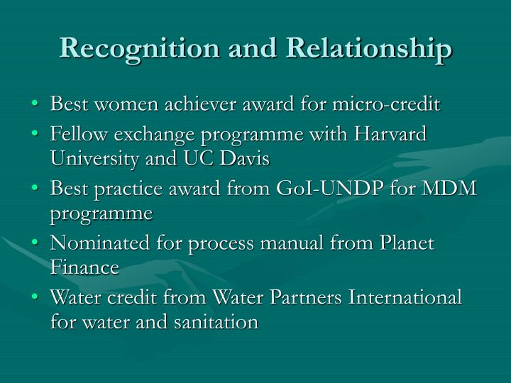 Recognition and Relationship