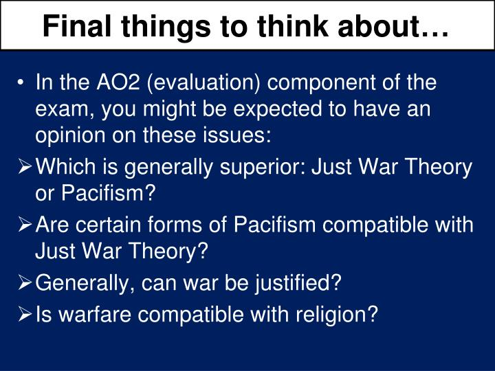 Final things to think about…