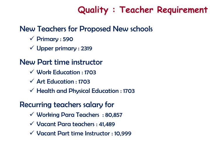 Quality : Teacher Requirement