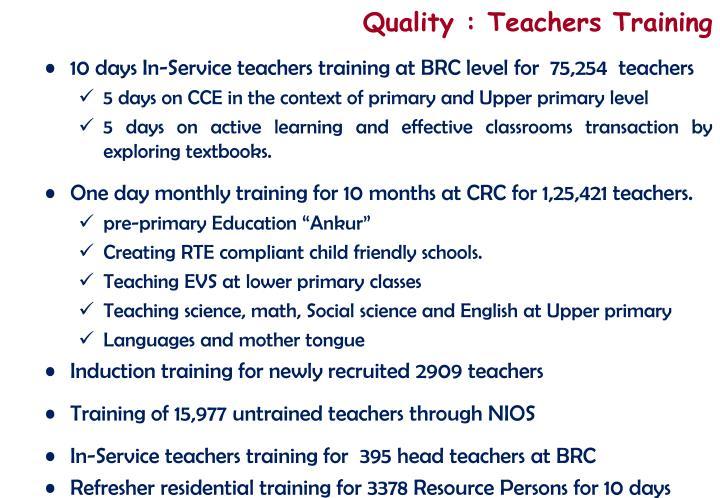 Quality : Teachers Training
