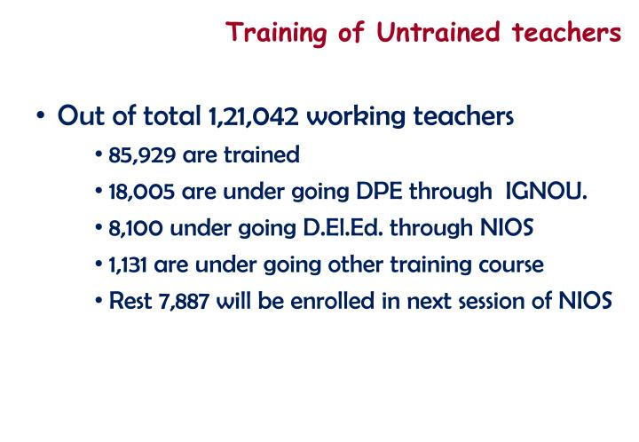 Training of Untrained teachers