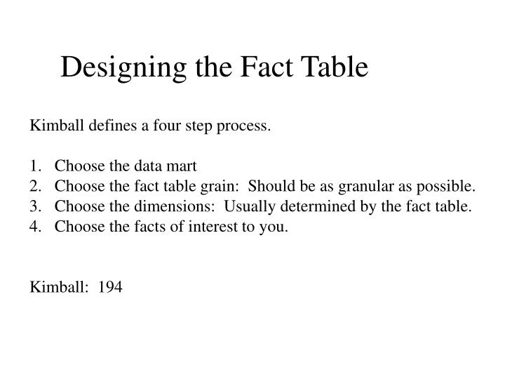 Designing the Fact Table