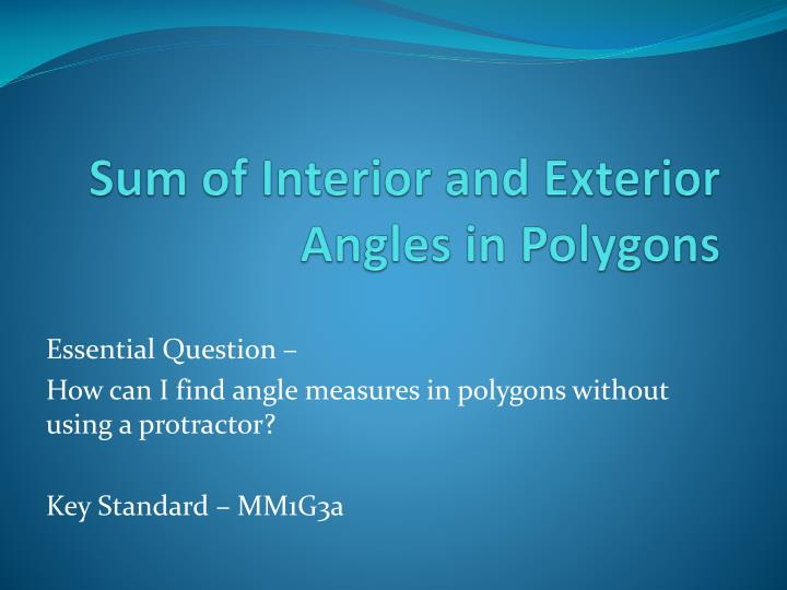 Sum of interior and exterior angles in polygons