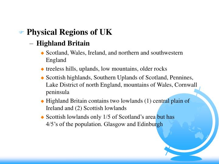 Physical Regions of UK