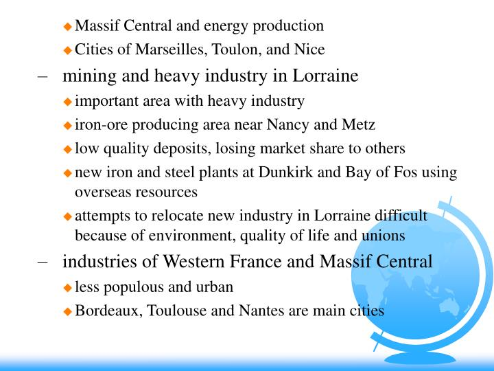 Massif Central and energy production