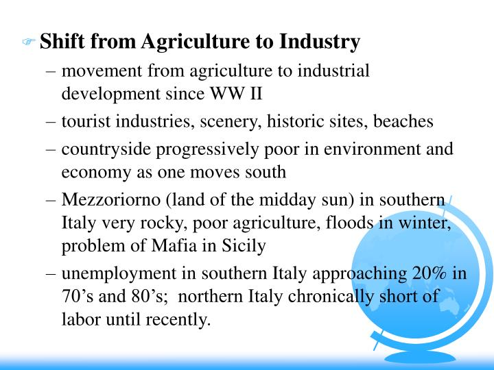 Shift from Agriculture to Industry
