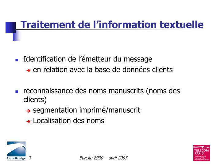 Traitement de l'information textuelle