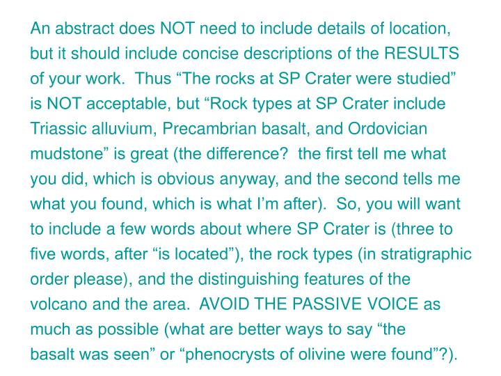 An abstract does NOT need to include details of location,