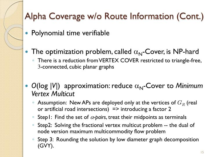 Alpha Coverage w/o Route Information (Cont.)