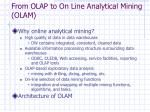 from olap to on line analytical mining olam