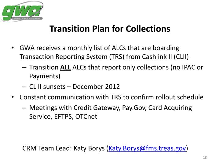 Transition Plan for Collections
