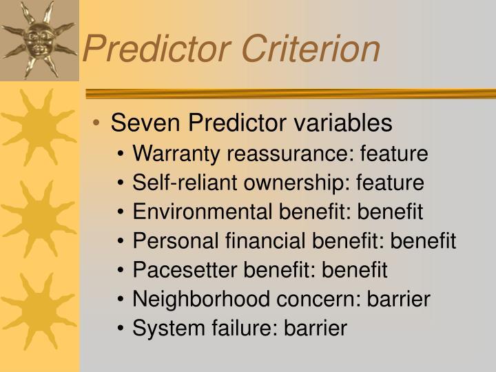 Seven Predictor variables
