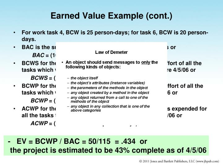 Earned Value Example (cont.)