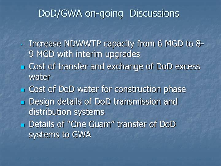 DoD/GWA on-going  Discussions