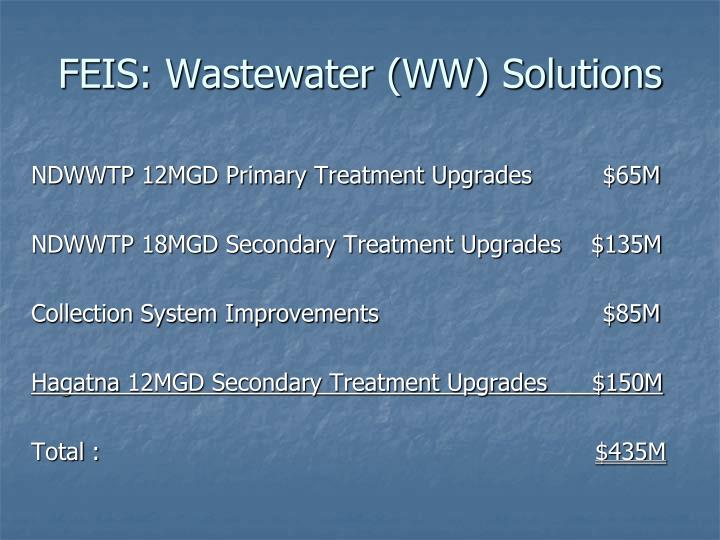 FEIS: Wastewater (WW) Solutions