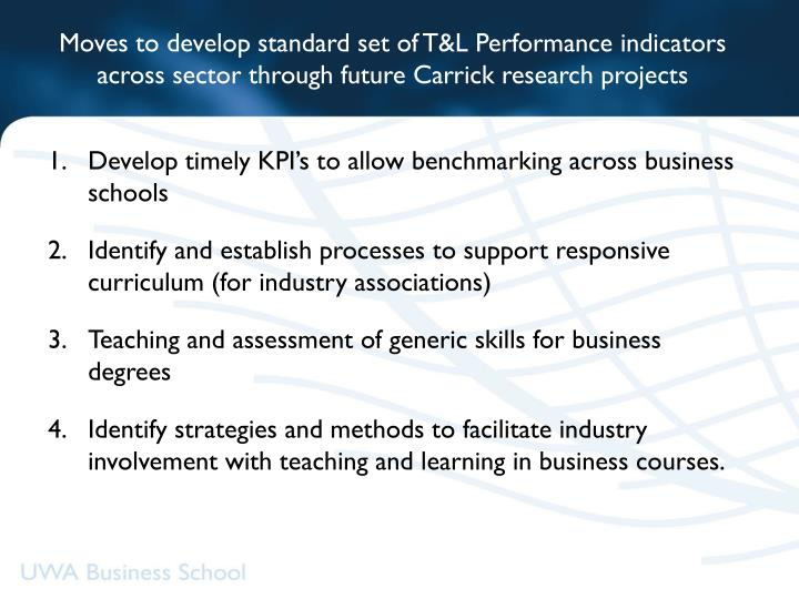 Moves to develop standard set of T&L Performance indicators across sector through future Carrick research projects