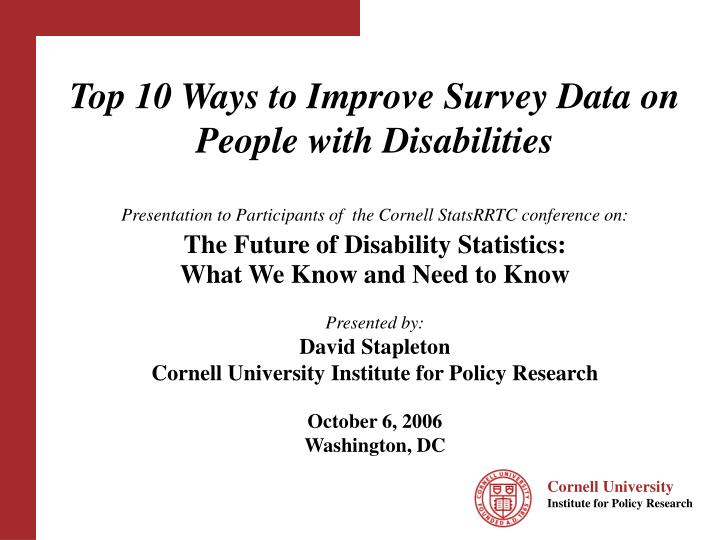 top 10 ways to improve survey data on people with disabilities n.