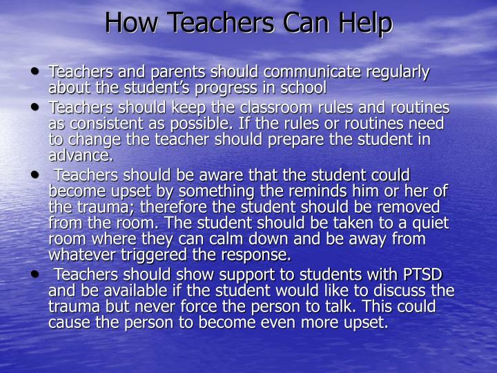 How Teachers Can Help