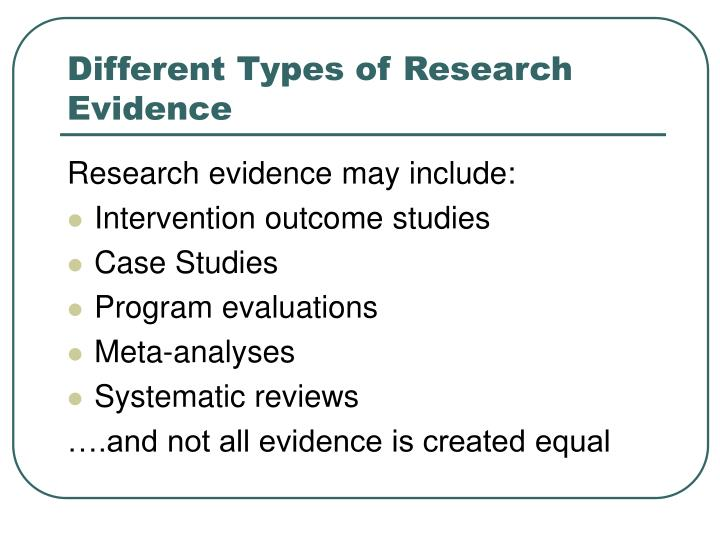 Different types of research evidence