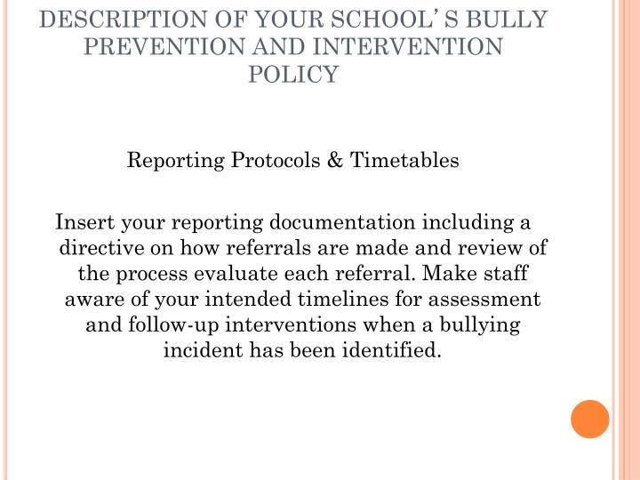 DESCRIPTION OF YOUR SCHOOL