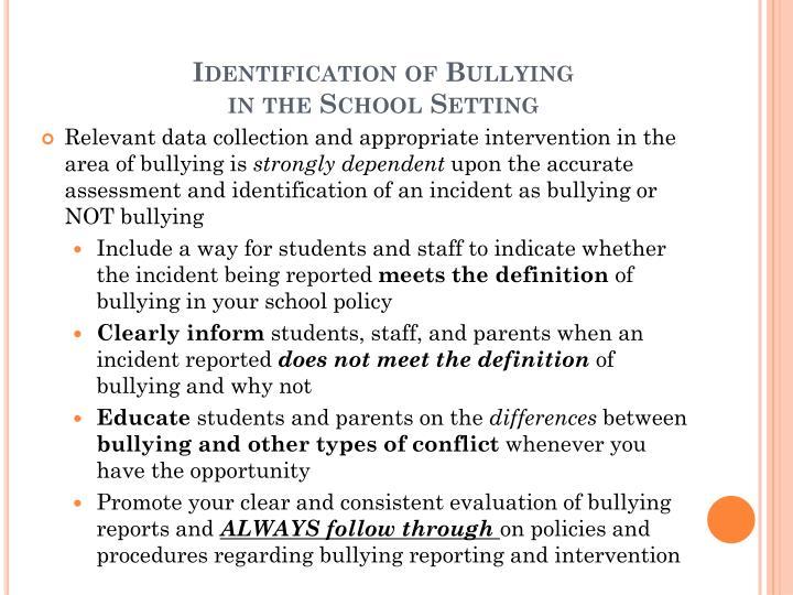 Identification of Bullying