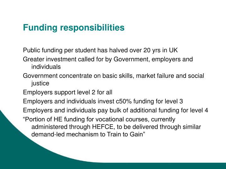 Funding responsibilities