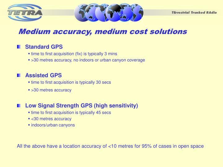 Medium accuracy, medium cost solutions