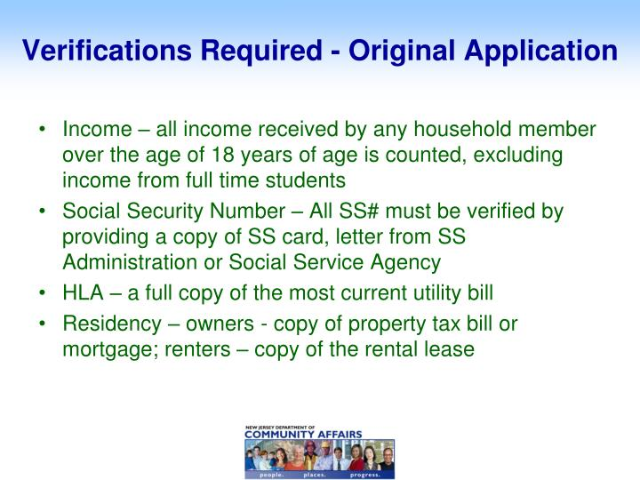 Verifications Required - Original Application