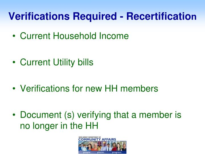Verifications Required - Recertificatio